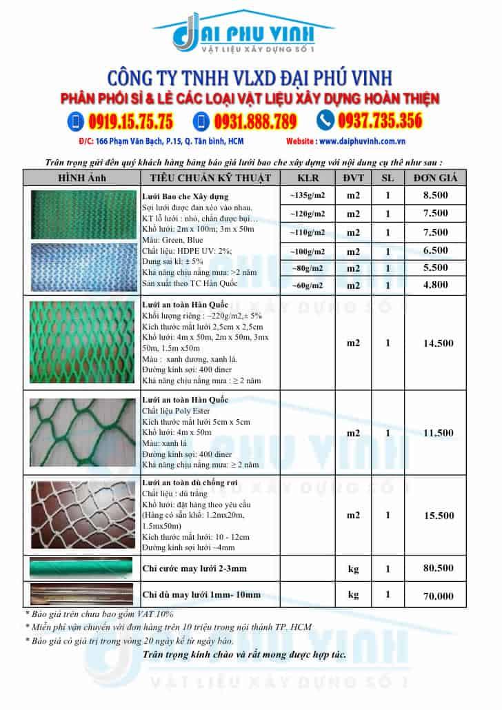 Báo giá lưới công trình - Báo giá lưới bao che xây dựng. Đặt hàng Lh 0931888789
